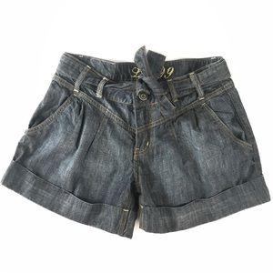 Anthro Level 99 Womens 28 Denim Cuffed Shorts EUC